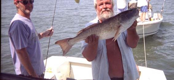 Bob Bass & Richard Photo with Redfish 2001 (1)