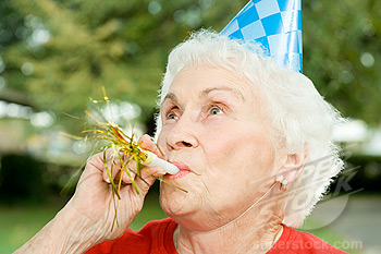 Senior woman at a birthday party