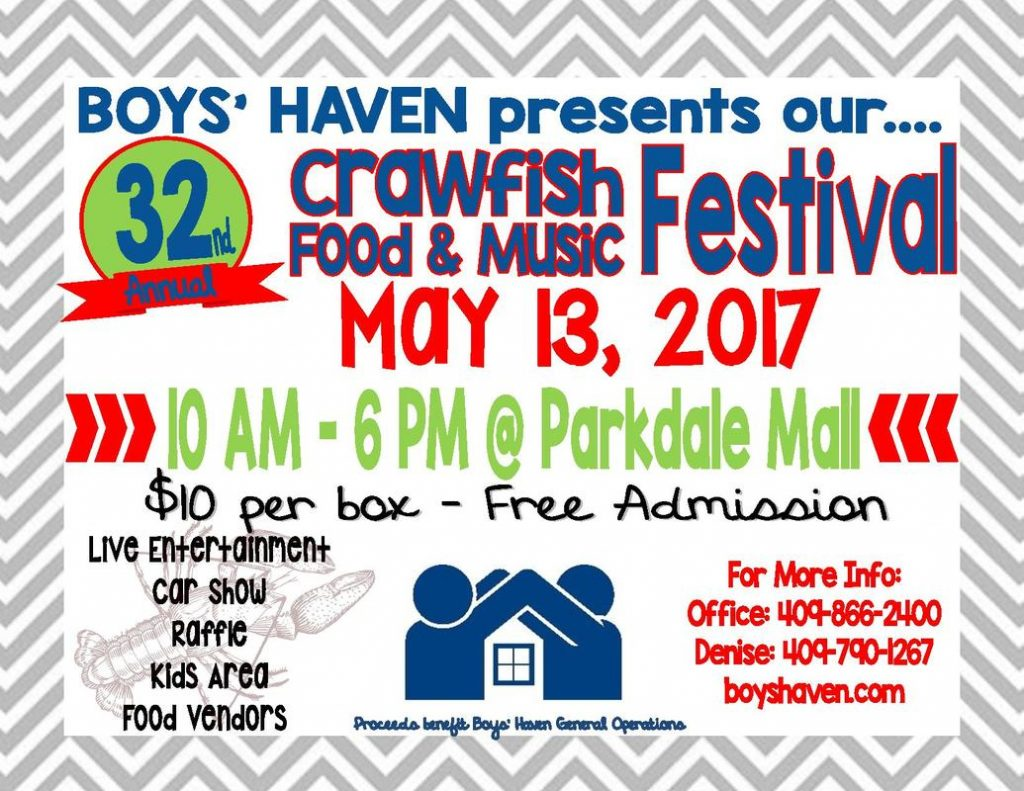 2017 Boys Haven Crawfish Boil, 2017 Boys Haven Crawfish Festival, Boys Haven in Beaumont TX, Boys Haven in Southeast Texas, 2017 Boys Haven Car Show, 2017 Boys Haven music lineup, 2017 Boys Haven fundraisers,