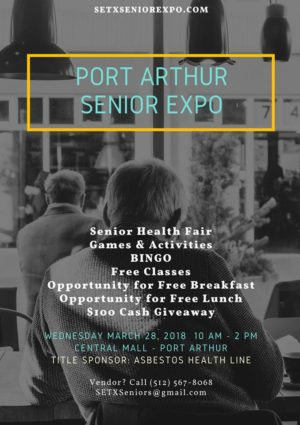 Port Arthur Senior Expo, Mid County Senior Events, Central Mall Healthfair, Asbestos Healthline Title Sponsor
